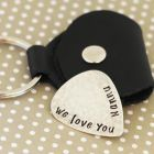 personalised jewellery, guitar picks, keyrings etc for men