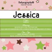 Babyography� Name Frame - Pink and Lime (19 cm x 19 cm)
