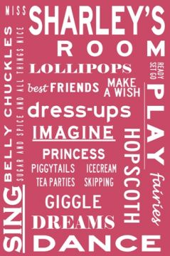 Personalised Bus Scroll for Girls Room - WHAT GIRLS ARE MADE OF - Bus Scroll Tram Scroll