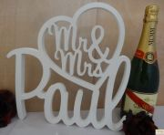 WHITE:  PVC (ACRYLIC) THICK Mr&Mrs In heart