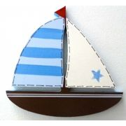 Artwork Hanger Set to display and organise your childs pictures - Sailboat - Blue and Chocolate