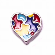 Charities Charm for Floating Memory Locket - Autism Awareness Heart