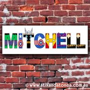 .Avengers Personalised name plaque canvas for kids wall art - Long Rectangular White Background