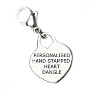 Personalised Backing Plate for Floating Memory Locket - Hand Stamped Heart Dangle