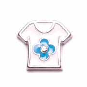Children Charm for Floating Memory Locket - Blue Shirt with Flower