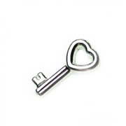 Love Charm for Floating Memory Locket - Heart Key - Silver Tone