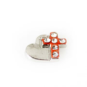 Faith Charm for Floating Memory Locket - Silver Heart Rose Gold Sparkle Cross