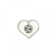 Love Charm for Floating Memory Locket - White Heart with Crystal