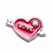 Love Charm for Floating Memory Locket - Arrow Through Red Heart