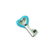 Love Charm for Floating Memory Locket - Blue Heart Key