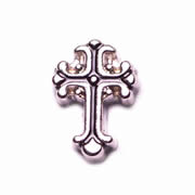 Faith Charm for Floating Memory Locket - Fancy Silver Cross
