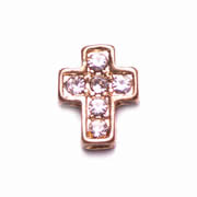 Faith Charm for Floating Memory Locket - Gold Crystal Cross