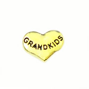 Family Charm for Floating Memory Locket - Grandkids - Gold Tone Heart