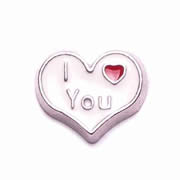 Love Charm for Floating Memory Locket - I Love You - White Heart with Tiny Red Heart