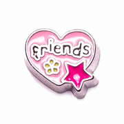 Love Charm for Floating Memory Locket - Pink Friends Heart with Flower and Star