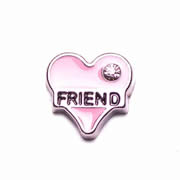 Love Charm for Floating Memory Locket - Pink Heart Friend