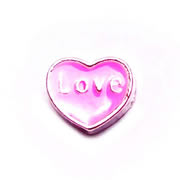 Love Charm for Floating Memory Locket - Pink Heart with Love