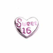 Number Charm for Floating Memory Locket - Sweet 16 Heart