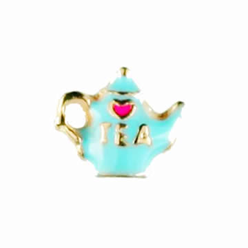 Food Charm for Floating Memory Locket - Teapot with Pink Heart