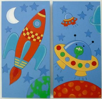 Artwork Childrens Room Decor - Space Kids Wall Art Canvas (Set of 2)