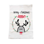 Personalised Christmas Tea Towel - Peeping Up Reindeer