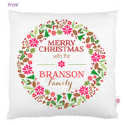 Personalised Cotton Cushion Cover for Grown Ups  - Merry Christmas Wreath