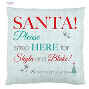 Personalised Cotton Cushion Cover for kids  - Santa Stop Here Green