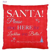 Personalised Cotton Cushion Cover for kids  - Santa Stop Here Red