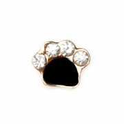 Animal Charm for Floating Memory Locket - Dog Paw - Sparkle Gold