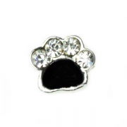 Animal Charm for Floating Memory Locket - Dog Paw - Sparkle Silver