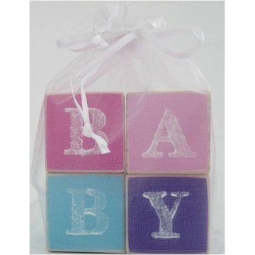 .Wooden Blocks Pinks/Purple/Blue Colours BABY (SMALL)
