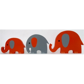 Wooden Block Freestanding elephant set of 3 ORANGE/CHOCOLATE (mixed trunks)