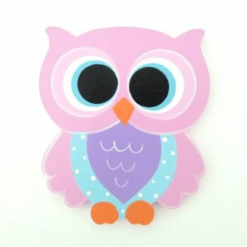 Wooden Block Freestanding feathered owl bright eyes - pale pink and purple