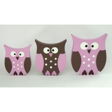 Wooden Block Freestanding owl - set of 3 (pink and chocolate)