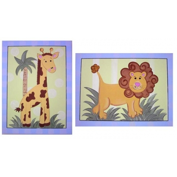 Artwork Childrens Room Decor Animal Jungle Set Blue Kids Wall Art Canvas (Set of 2)