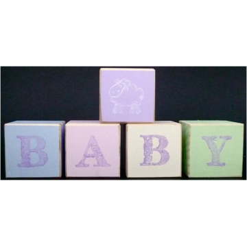 .Wooden Blocks Pastels BABY with motif (SMALL)