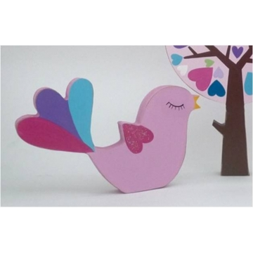 Wooden Block Freestanding fantail bird - pink