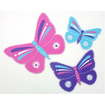 Wall Motif Set for Kids / Baby Room- Butterflies - Pink, Aqua and Purple Painted