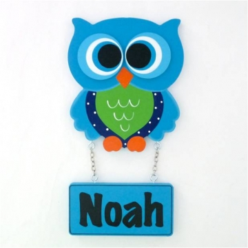 Door Name Plaque for Kids - Door Motif Plaque OWL AQUA