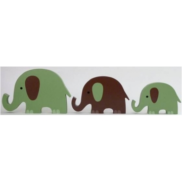 Wooden Block Freestanding elephant set of 3 GREEN/CHOCOLATE (trunks up)