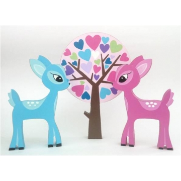 Wooden Block Freestanding deers and tree set