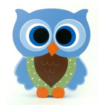 Wooden Block Freestanding feathered owl bright eyes - blue, green and chocolate