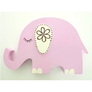 Wooden Block Freestanding elephant - pink girl