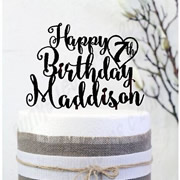 Cake signs, toppers and plaques personalised - Birthday - Happy Birthday name - 3 lines