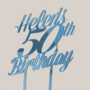 Cake signs, toppers and plaques personalised - Birthday - Number SLANTED 3 lines