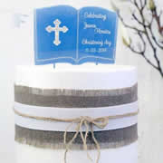 Cake signs, toppers and plaques personalised - Christening Book