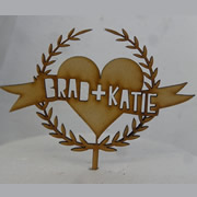 Cake signs, toppers and plaques personalised - Wedding  - Banner Wreath