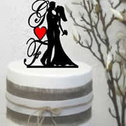 Cake signs, toppers and plaques personalised - Wedding  - Bride & Groom Acrylic Initials