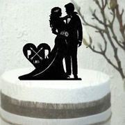 Cake signs, toppers and plaques personalised - Wedding  - Bride And Groom Silhouette Retro