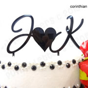 Cake signs, toppers and plaques personalised - Wedding  - Heart or & between Initials